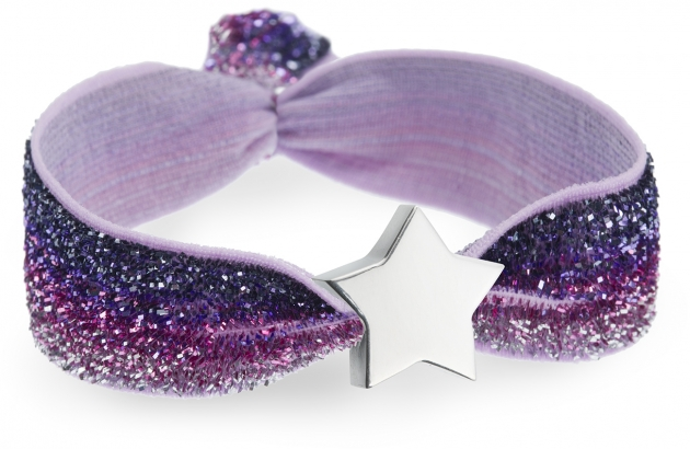 ombre purple glitter bracelet with silver star bead