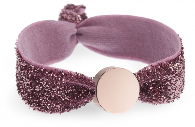 girls dusky pink glitter bracelet with rose gold circle bead
