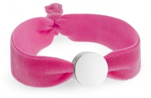 personalised girls flamingo pink velvet bracelet with silver circle bead