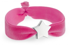 personalised flamingo pink velvet bracelet with silver star bead