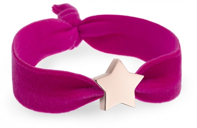 personalised girls raspberry pink velvet bracelet with rose gold star bead