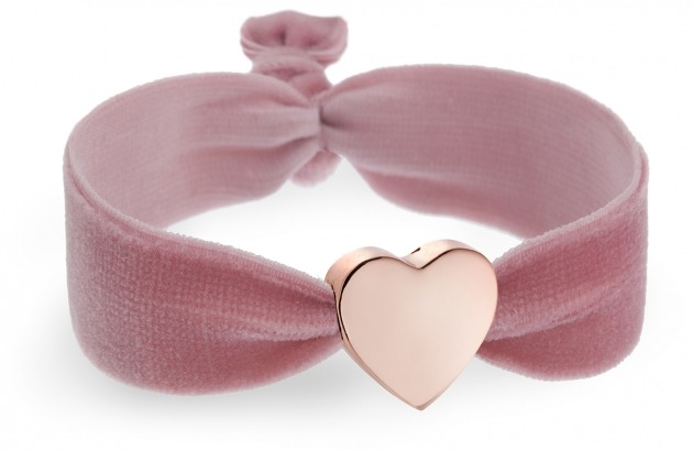 girls rose velvet bracelet with rose gold heart bead