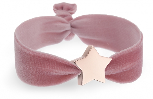 personalised vintage pink rose velvet bracelet with rose gold star bead