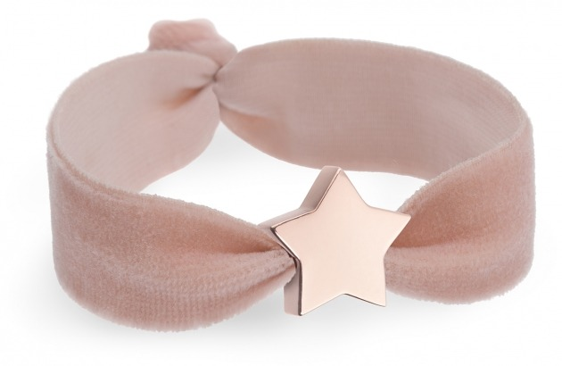 personalised girls blush pink velvet bracelet with rose gold star bead