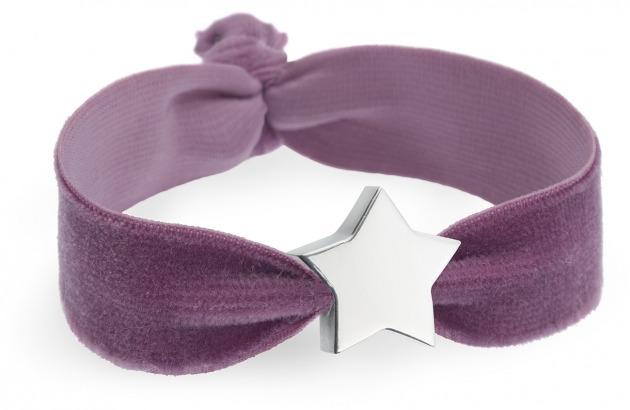 girls lilac velvet bracelet with silver star bead