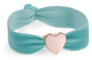 personalised girls vintage aqua velvet bracelet with rose gold heart bead