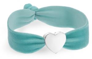 vintage aqua velvet bracelet with silver heart bead