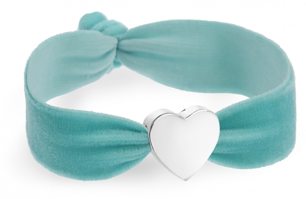 personalised vintage aqua turquoise velvet bracelet with silver heart bead