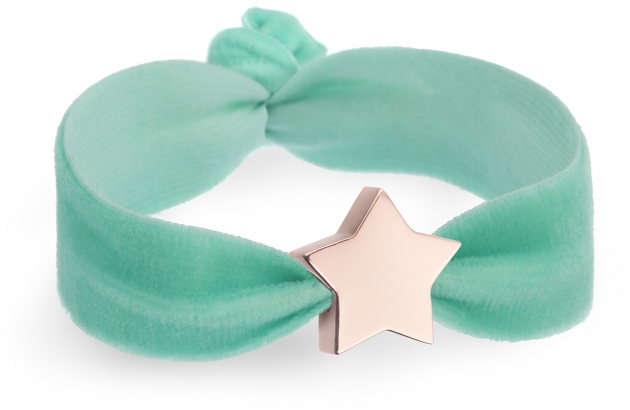 personalised personalised spearmint velvet bracelet with rose gold star bead