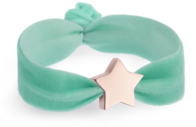 spearmint velvet bracelet with rose gold star bead