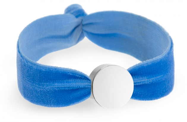 personalised sky blue velvet bracelet with silver circle bead