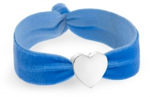 personalised something blue velvet bracelet with silver heart bead