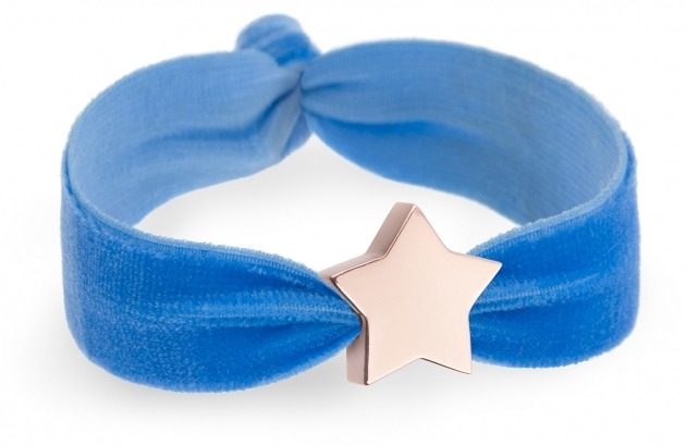 girls personalised blue velvet bracelet with rose gold star bead