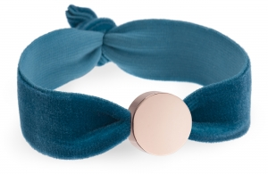 personalised vintage teal velvet bracelet with rose gold circle bead