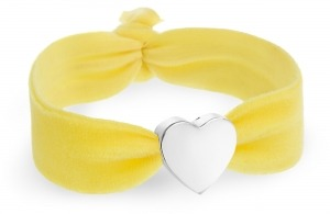 girls personalised yellow velvet bracelet with silver heart