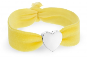 personalised sunshine yellow velvet bracelet with silver heart bead