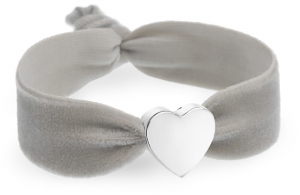 personalised cloud grey velvet bracelet with silver heart bead