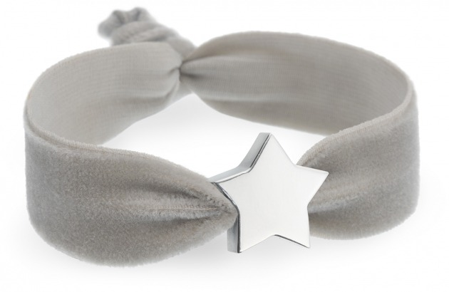 girls personalised cloud grey velvet bracelet with silver star bead