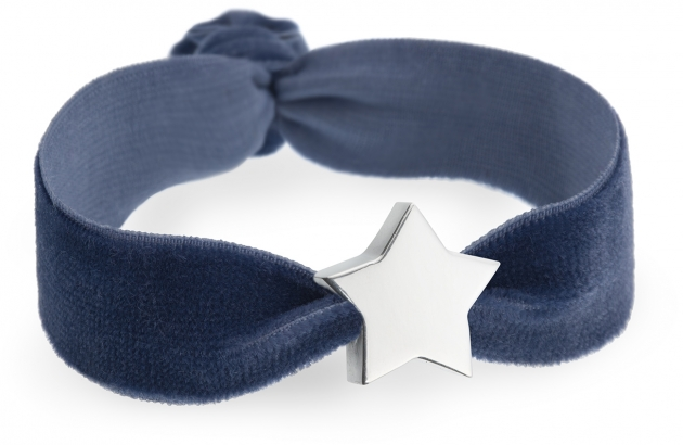 personalised storm blue velvet bracelet with silver star bead