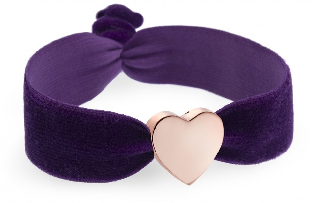 girls aubergine velvet bracelet with rose gold heart bead