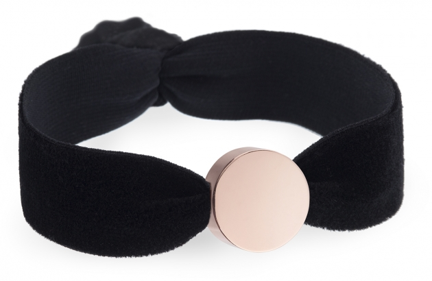 personalised black velvet bracelet with rose gold circle bead