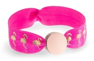 personalised hot pink and gold flamingo bracelet with rose gold circle bead