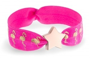 personalised girls pink flamingo bracelet with rose gold star bead