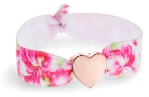 Personalised Hawaiian hibiscus bracelet with rose gold heart bead