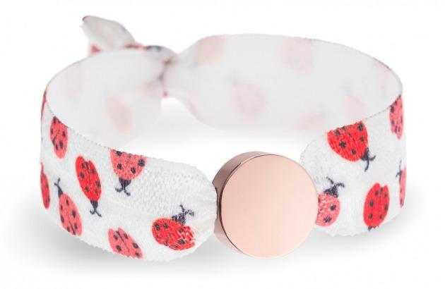 ladybug bracelet with rose gold circle bead