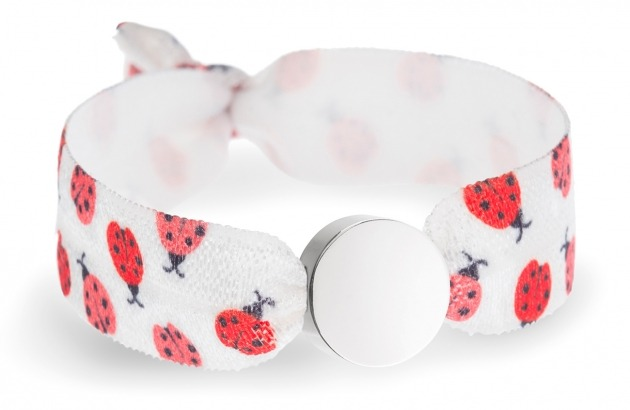 girls ladybug bracelet with silver circle bead