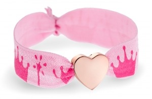 Personalised pink princess crown bracelet with rose gold heart bead