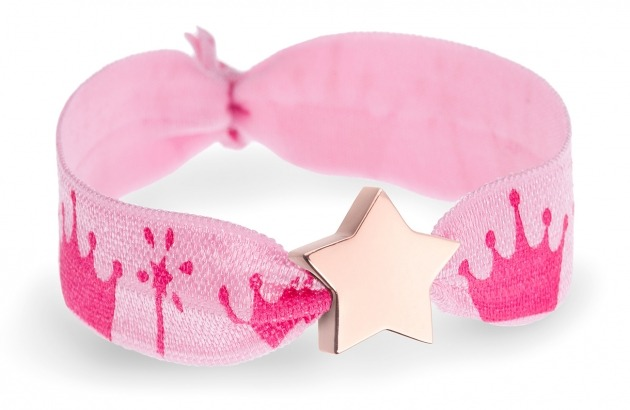 girls pink crowns bracelet with rose gold star bead