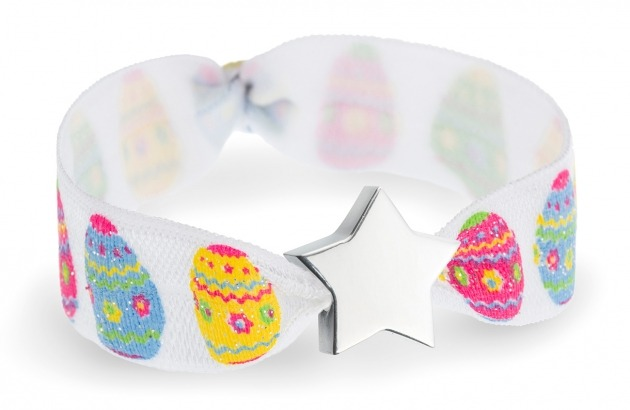 Personalised easter egg bracelet with silver star bead