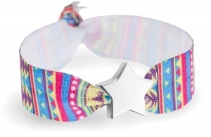 Personalised multicoloured geometric festival print bracelet with silver star bead