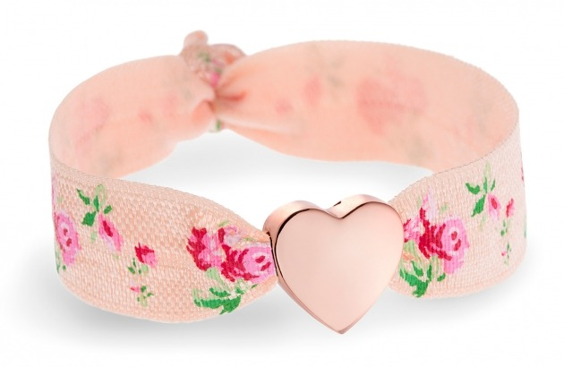 Personalised Peach & Rose bracelet with rose gold heart bead