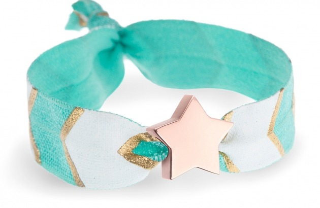 personalised turquoise, white & gold chevron bracelet with rose gold star bead
