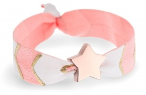personalised peach, white & gold chevron bracelet with rose gold star bead