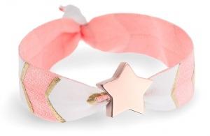 peach chevron bracelet with rose gold star bead