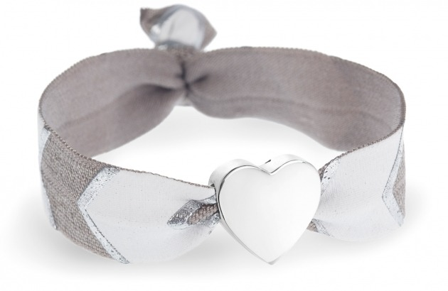 personalised grey, white & silver chevron bracelet with silver heart bead
