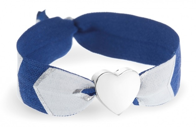 personalised navy blue, white & silver chevron bracelet with silver heart bead