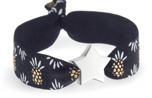personalised black and gold pineapple bracelet with silver star bead