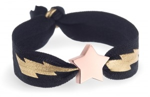 personalised black and gold lightning bolt bracelet with rose gold star bead