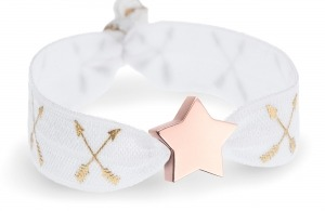 personalised white & gold crossed arrows bracelet with rose gold star bead