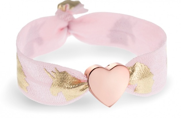 girls pink unicorn bracelet with rose gold heart bead