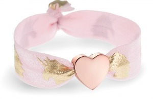 personalised pink & gold unicorn bracelet with rose gold heart bead