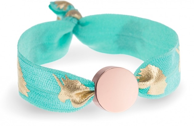 personalised turquoise & gold unicorn bracelet with rose gold circle bead