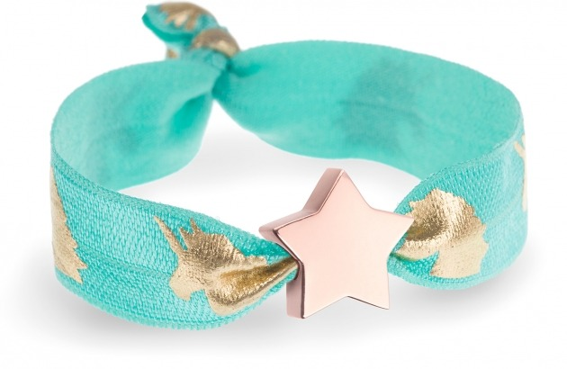personalised girls turquoise unicorn bracelet with rose gold star bead