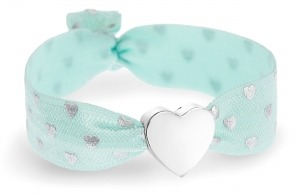 personalised girls soft mint and silver hearts bracelet with silver heart bead