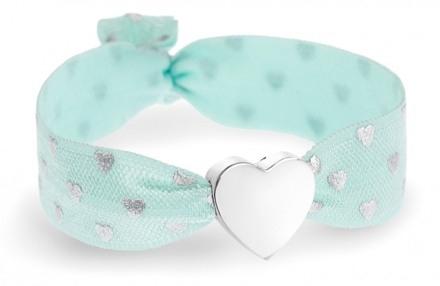 girls soft mint and silver hearts bracelet with silver heart bead