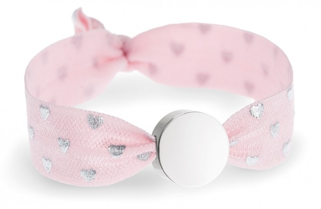 girls soft pink and silver heart bracelet with silver circle bead